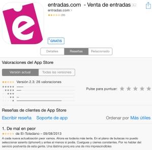 Entradas.com en Apple Store . 06/04/2014