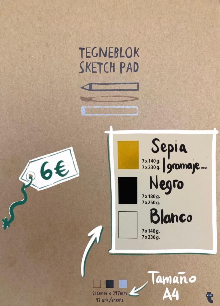 Sketchbook A4 con hojas de tres colores